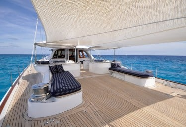 Sailing Yacht HYPERION Deck Awning and Sunbeds