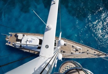 Sailing Yacht HYPERION Deck View from Mast