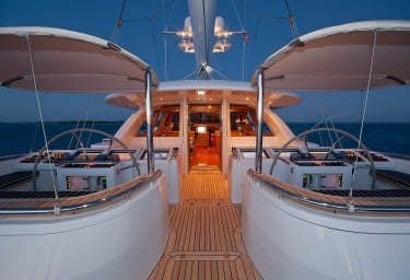 Sailing Yacht HYPERION Double Helm Evening View