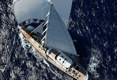 Sailing Yacht HYPERION Eased Sheets Aerial View