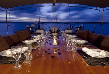 Luxury Charter Sailing Yacht OCEANS SEVEN2 Cockpit Dining