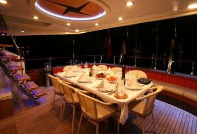 Serenity 86 Aft Deck Dining