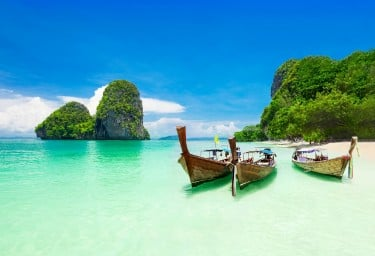 Traditonal boats in Phang Nga Bay, Thailand