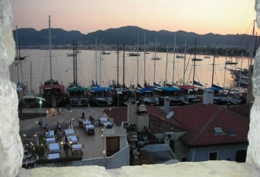 Gulets at the Town Quay from the Castle in Marmaris