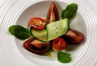 Charter Yacht COSMOS Cucumber, Mint and Heirloom Tomato Salad with Yogurt Dressing