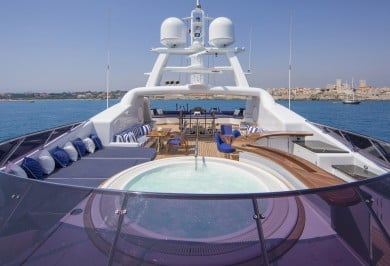 Luxury Charter Mega Yacht MOSAIQUE Sun Deck with Jacuzzi Tub