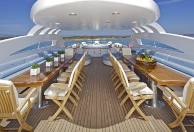 Luxury Charter Yacht MIA RAMA Flybridge Alfresco Dinining Space